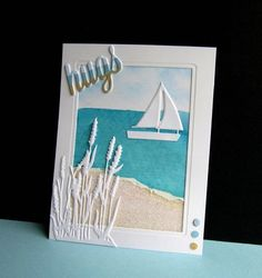 Surf & Sand by - Cards and Paper Crafts at Splitcoaststampers. Never had thought of using white for the foliage. Nautical Cards, Beach Cards, Boy Cards, Travel Cards, Masculine Cards, Creative Cards, Scrapbook Cards, Homemade Cards, Stampin Up Cards