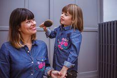 Un joli Look Mum&Girl <3  #broderie#chemise#jeans#oodt#fleurs#couleurs#mode#merefille