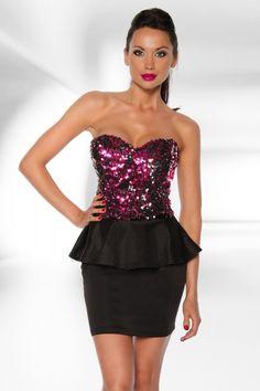 Vintage-Pailletten Kleid pink-12921 - Kleidung Onlineshop