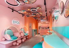 Emerging dessert parlour, Dyce approached FormRoom to develop a dynamic & fantastical interior brand identity for their first permanent space in Marylebone. Cafe Interior Design, Commercial Interior Design, Retail Interior, Interior Shop, Suzhou, Salvador Dali, London Dessert, Neon Glow, Layout