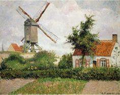 "Camille Pissarro (Danish-French, 1830-1903) - ""Windmill at Knokke, Belgium"", 1894"