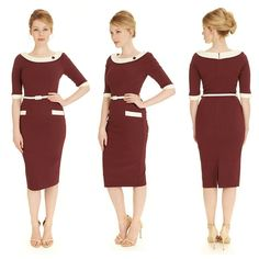The colour of the season, the burgundy hue of our Joelle Contrast Pencil Dress gives this 60's design a modern update #fashion #style #elegant #chic #classic #sophisticated #retro #vintage #60s #sixties #1960s #burgundy #SS16 #newin #theprettydress #theprettydresscompany