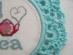 I Love Tea cross stitch in light blue crochet by YellowSherbet