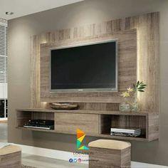 Painel Para TV Até 47 Polegadas Lume Com 1 Porta De Correr E Fita LED 133 X  180 X Roble Graffiato   HB Móveis