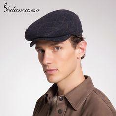 18bb4d8c Warm Winter Cute Puppy Man Hats Cap For Men Winter Cap Visor Newsboy Caps  Vintage Stripe Wool Felt Hat