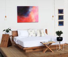 Our Sunrise platform bed, Tipi side tables and Kit Kat side tables. Artwork by Lumi Opus.