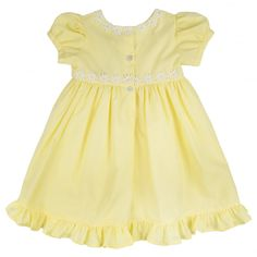 Baby Girls Yellow Dress with White Daisy Trim and Matching Bloomers. Available now at www.chocolateclothing.co.uk