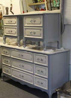 Brenda Bordelon painted this French Provincial dresser, mirror and nightstands with Manatee Gray, Drop Cloth and Satin Clear Coat.