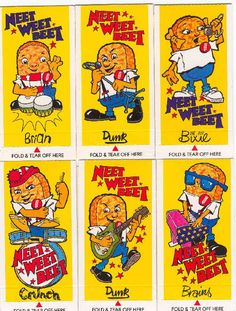1983 Neet Weet Beet Band Free cards in packets of Weetabix cereal Old Sweets, Vintage Sweets, Vintage Toys 1970s, Retro Toys, 1980s Childhood, Childhood Memories, Retro Advertising, Vintage Advertisements, 1980s Tv Shows