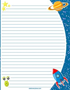 Printable space stationery and writing paper. Free PDF downloads at…