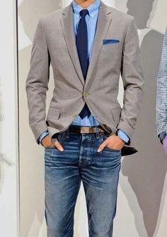 Blue jeans and grey blazer