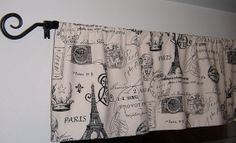 "Window Curtain Valance, 3 Pattern Choices 52""x15"" Long, Kitchen Valance Curtains, Eiffel Tower, Stamps, Maps, Airplane, Curtain Valance"