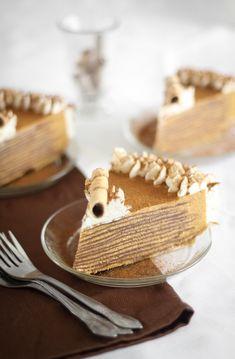 Pumpkin Bavarian Crepe Cake by Sprinkle Bakes Crepes, Sweet Recipes, Cake Recipes, Dessert Recipes, Crêpe Recipe, Dessert Blog, Crepe Cake, Fall Baking, Pumpkin Dessert