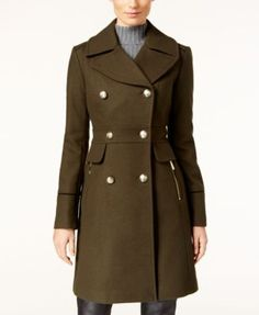 Vince Camuto Double-Breasted Military Coat | macys.com