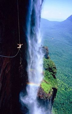 Ziplining at Angel Falls, Venezuela - OK let's just say it.. People are amazing but also CRAZY!