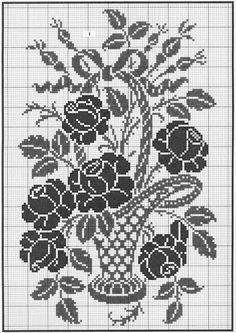 Filet Crochet Charts, Crochet Cross, Crochet Motif, Crochet Designs, Crochet Doilies, Crochet Patterns, Cross Stitch Boards, Cross Stitch Rose, Cross Stitch Flowers