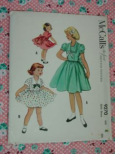 Vintage Pattern c.1953 McCall's No.9270 Girls by auntnonniesnest, $12.00
