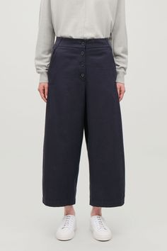 WIDE TROUSERS WITH FRONT BUTTONS - Navy - Trousers - COS Wide Trousers, Put On, New Product, Wide Leg, Cos, Man Shop, Navy, My Style, Model