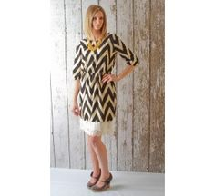 $28.95 Chevron Dress + see the slip extender in action! Simply beautiful! {extender sold separately}