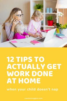 Work from home or really just need to get stuff done? Here are 12 ways you can ACTUALLY get work done at home when your child doesn't nap. How to work at home with kids | work at home | work at home tips | mompreneur tips | time management for moms | productivity for moms | mom hacks | work at home mom | working mom | remote work | make money from home | #cassiescrooggins #workathome #remotework #timemanagement Work From Home Moms, Make Money From Home, Office Hacks, Mom Planner, Mom Schedule, Kids Work, Every Mom Needs, Make Blog, Happy Mom