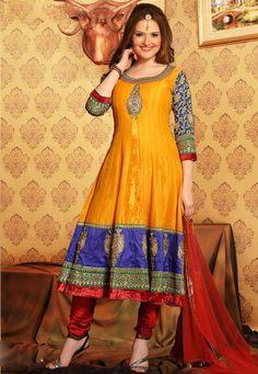 #Yellow Chanderi Art #Silk #Anarkali