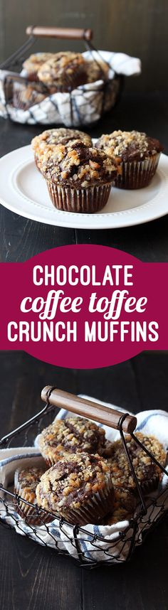 Chocolate Coffee Toffee Crunch Muffins are almost as fun to say as they are to eat. Mocha muffins are studded with chocolate chips and topped with a crunchy toffee streusel.