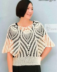 Crochet cape or blouse free pattern.