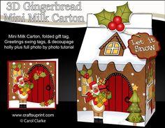 3D Christmas Milk Carton Gingerbread House Treat Box Mini Kit - Rudolph has lots of Presents by Carol Clarke 2 sheets in the kit mini milk…
