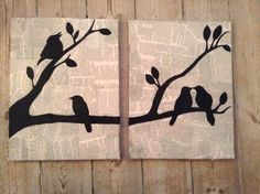 Birds on newspaper, canvas, diy, paintings