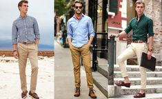 Almost all kinds of shirts look great with beige chinos.