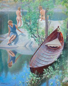 Pekka Halonen (Finnish 1865-1933) Summer idyll, 1931. https://upload.wikimedia.org/wikipedia/commons/e/ed/Halonen_Summer_idyll.jpg