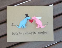 dinosaur wedding card funny wedding card cute by FubiniCrafts, $7.00