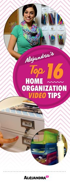 Alejandra's Best #Organization Tips For 16 Spaces In Your Home http://www.alejandra.tv/blog/2014/08/video-organization-tips/?utm_source=Pinterest&utm_medium=pin&utm_campaign=Top16Tips2