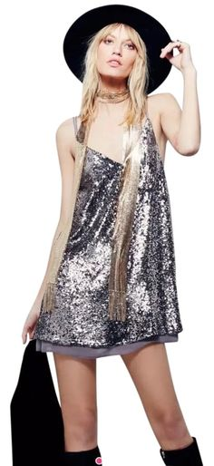 Free People Mineral Grey Sparkler Sequin Mini Dress. Free shipping and guaranteed authenticity on Free People Mineral Grey Sparkler…