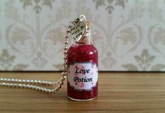 Love Potion Necklace Glass Bottle Pendant Charm Jewellery Gift Fancy Dress