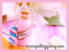 Liquid Pink Cotton Candy Bottle Necklace 2ml Vial by tranquilityy