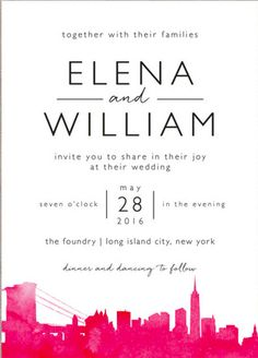 Send the perfect invitation that will reflects your wedding day style. Shop Skyline-New York Wedding Invitations by Laura Condouris at minted.com
