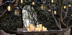Remote Control Outdoor Flameless Candle with a Realistic Wick Design by Restoration Hardware Restoration House, Restoration Hardware, Outdoor Spaces, Outdoor Living, Porch Plants, Outside Patio, All Holidays, Back Doors, Trendy Home