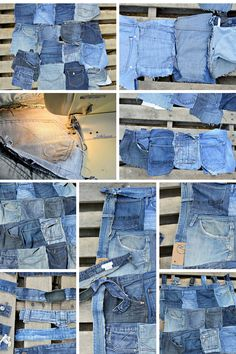 How to recycle your old jeans to make and amazing and handy Denim pocket wall organiser