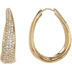 NADRI Pave Crystal Oval Hinge Hoop Earrings ($50) ❤ liked on Polyvore featuring jewelry, earrings, gold, infinity jewelry, oval hoop earrings, round earrings, hinged hoop earrings and pave crystal jewelry