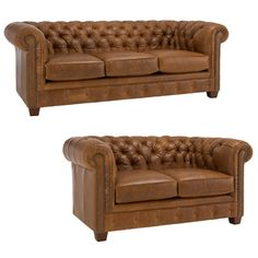 Hancock Tufted Distressed Saddle Brown Italian Leather Sofa and Loveseat | Overstock.com Shopping - Great Deals on Sofas & Loveseats