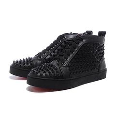 Black Christian Louboutin Men's Louis Studded Hi-Top Sneakers  £119.00