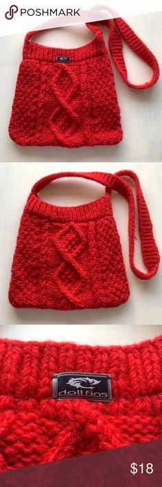 """Red Wool Knit Crochet Boho Sack Purse Shoulder Bag WRV (Wave Riding Vehicles) Christmas New Years Party Soft Red Wool Knit Crochet Boho Sack Purse Shoulder Bag or Crossbody Bag. Lightly used, good condition. Has the classic WRV dolphin logo and says """"doll fins"""" ❤🐬🐬🐬❤ Wave Riding Vehicles Bags Shoulder Bags"""