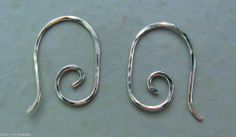 Small HAMMERED 15mm Fancy INTERCHANGEABLE Earring Wires Sterling Silver
