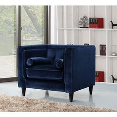 Shop for Meridian Taylor Navy Velvet Chair. Get free shipping at Overstock.com…