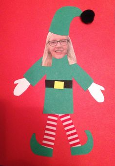 My example to the kids of their elf yourself Christmas card. I gave them a template for each part which they had to draw round and cut out. The legs are striped fabric. I did this with KS2 year 5.