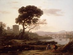 Enlarged Picture: Oil Painting - Landscape near Rome with a View of the Ponte Molle - Birmingham Museums & Art Gallery Information Centre