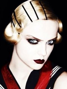1920's Modern Hair, Black Cream Eyes, and Blackest Blood Lips. Editorial Makeup. by RioLeigh