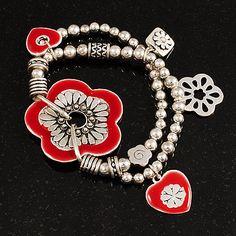 2-Strand Red Floral Charm Bead Flex Bracelet (Antique Silver Tone) - main view