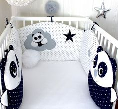 Baby cot bumper with 2 panda cushions blue and grey